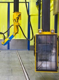 Blastman B20C-S has an additional control cabin with a separate gantry, which moves longitudinally with the robot. The cabin can be independently rotated and moved vertically to grant  the operator visibility all around the blast room. From the air-conditioned, dust- and sound-proof cabin, the operator has clear sight of the workpiece when programming the robot in teaching mode or when blast cleaning individual workpieces by manual control.
